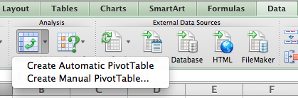 Create Manual Pivot Table