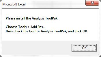 Analysis ToolPak PopUp