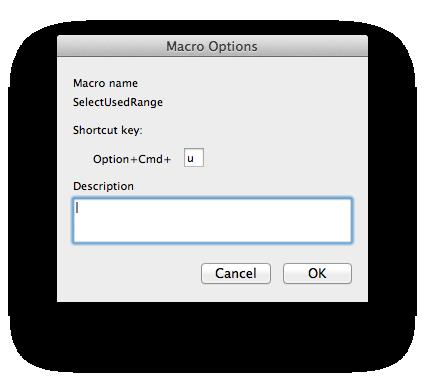 Macro Options dialog box