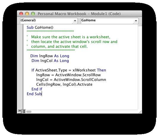 Personal Macro Workbook GoHome Code