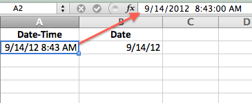 Date Time shown in Cell  and Formula Bar