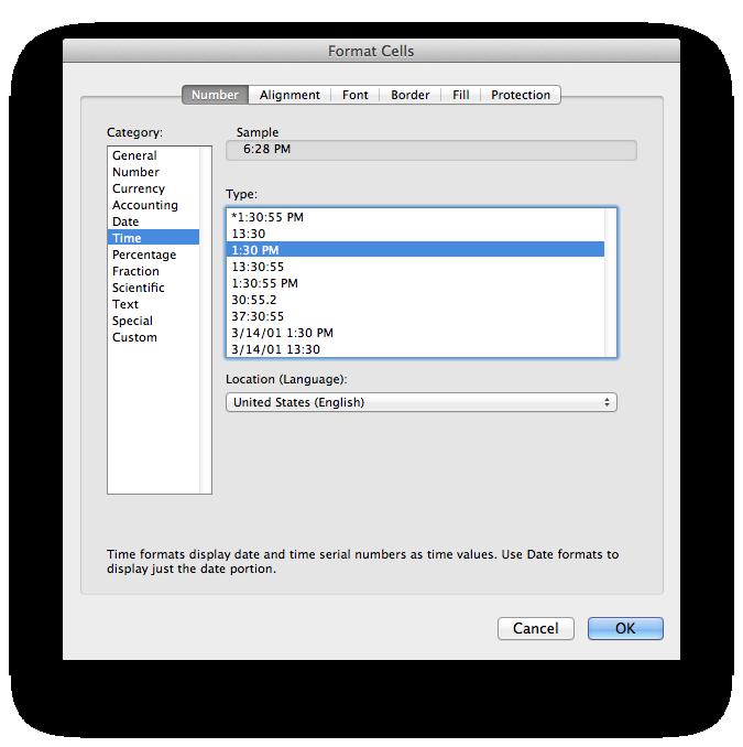 Format Time Dialog