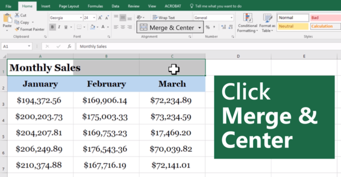 How to merge cells in excel: Screen shot of an Excel spreadsheet with cells being merged.