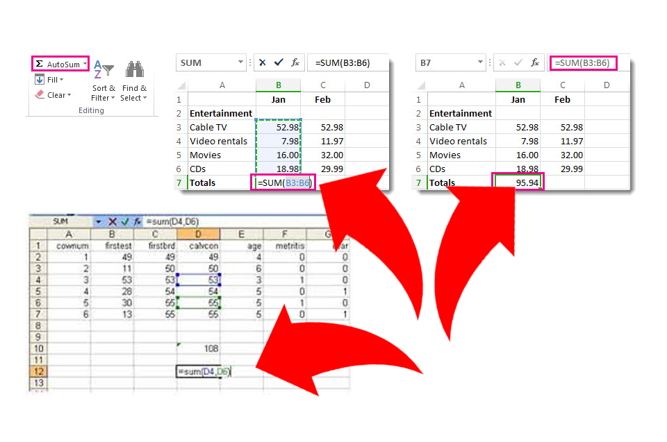 How to add cells in Excel (screen shots of cell data added up via the SUM formula).