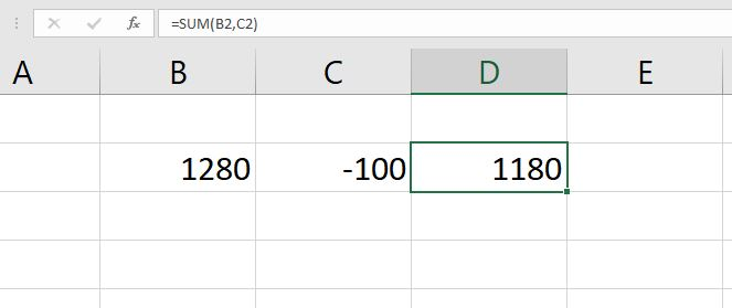 how to subtract in excel by first using the SUM function