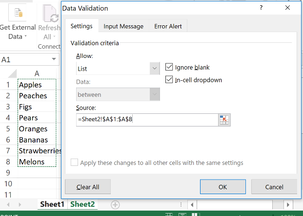 data validation how to make a drop down list in excel
