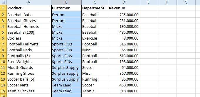 customers table how to alphabetize in excel