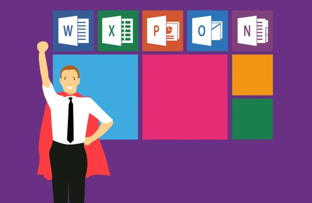 Microsoft office icons including excel