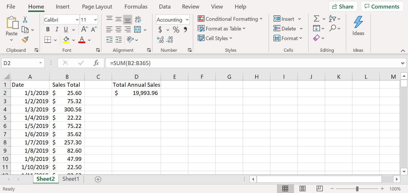 Annual sales shown for how to use the sum function (addition) in excel